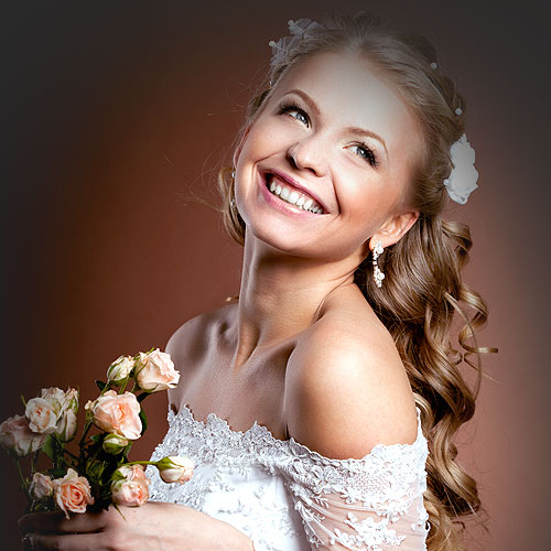 perfect hair blond girl wedding day
